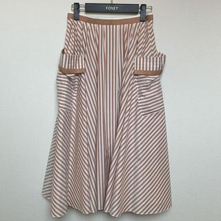 FOXEY - 美品☆20SS☆FOXEYフォクシー♪ストライプスカート♪カタログ掲載38サイズ