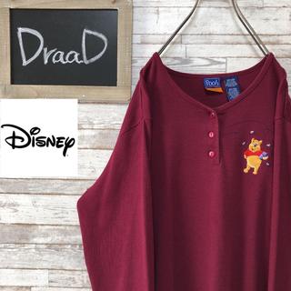 ディズニー(Disney)の【古着】ディズニー くまのプーさん 刺繍 サーマル Tシャツ L(Tシャツ/カットソー(七分/長袖))