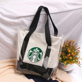 Starbucks Coffee - 【スターバックス】Starbucks トートバッグ ビニールカバー ブラック
