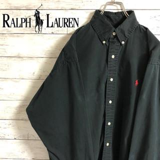 ラルフローレン(Ralph Lauren)の【超人気】ラルフローレン☆刺繍ワンポイントロゴ ブラック コットン長袖BDシャツ(シャツ)