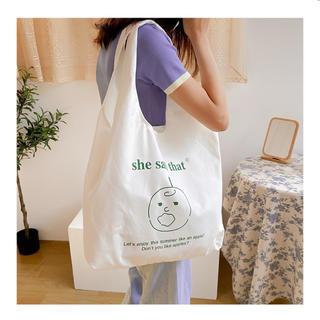 dholic - 韓国 エコバッグ トートバッグ レジ カゴバッグ  イラスト 布