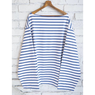 COMOLI - outil tricot aast バスクシャツ White Navy サイズ1