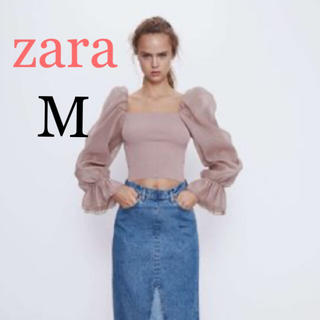 ZARA - 新品 ザラ コンビ素材 オーガンザ トップス M ユニクロ gu 好きに