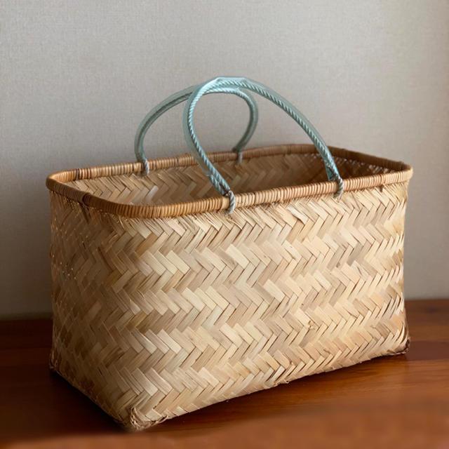 竹かご 大きいサイズ 買い物や買い出しアウトドアなどに インテリア/住まい/日用品のインテリア小物(バスケット/かご)の商品写真