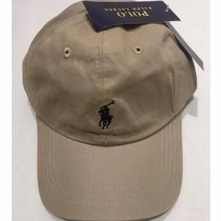 ポロラルフローレン(POLO RALPH LAUREN)の新品タグ付き ポロ・ラルフローレン 帽子 ベージュ/ブラックポニー 高品質(キャップ)