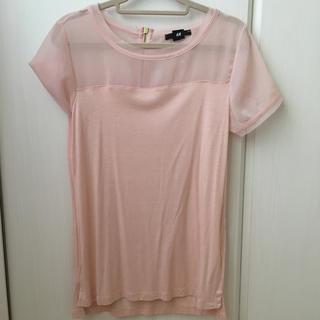 エイチアンドエム(H&M)の半袖 トップス Tシャツ シースルー ピンク M(Tシャツ(半袖/袖なし))