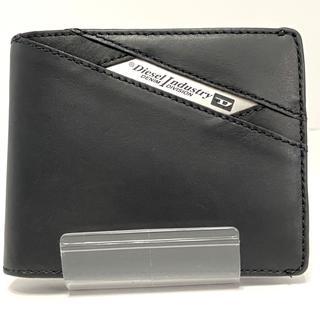 ディーゼル(DIESEL)のディーゼル 2つ折り財布美品  黒 レザー(財布)