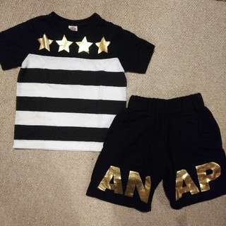 アナップキッズ(ANAP Kids)のANAP キッズ Tシャツ ハーパン ゴールドロゴ(Tシャツ/カットソー)