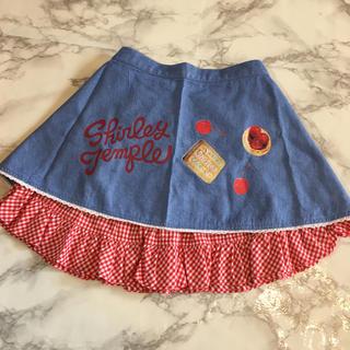 Shirley Temple - シャーリーテンプル スカート 120 ギンガムチェック エプロン 可愛い デニム