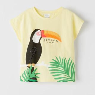 ZARA KIDS - 【新品・タグ付き】ZARA  スパンコール Tシャツ 7歳 オウム ボタニカル