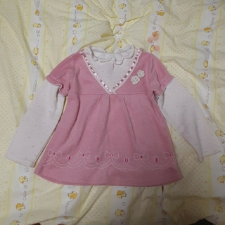 ニシマツヤ(西松屋)のsize110西松屋ピンク重ね着風長袖トップス🎀洗濯済み❣️送料無料(Tシャツ/カットソー)