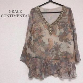 GRACE CONTINENTAL - 【GRACE CONTINENTAL】花柄 ビジュー シフォン ブラウス