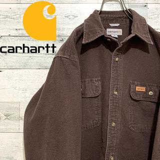 carhartt - 【人気】カーハート carhartt☆ロゴタグ コットン ブラウン 長袖シャツ
