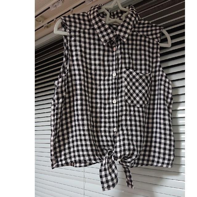 H&M(エイチアンドエム)のH&M ギンガムチェックシャツ キッズ/ベビー/マタニティのキッズ服女の子用(90cm~)(Tシャツ/カットソー)の商品写真