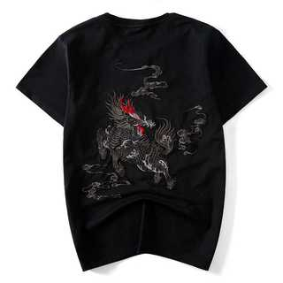 Tシャツカットソーメンズトップス麒麟刺繍お揃いペアルック870