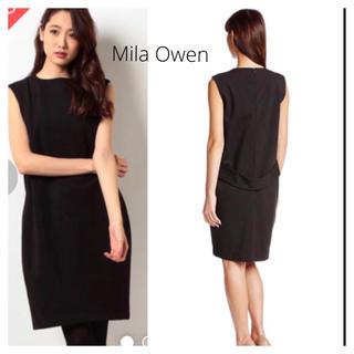 Mila Owen - Mila Owen ミラオーウェン バックベルトワンピース ブラック