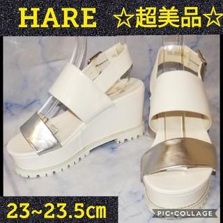 ハレ(HARE)のハレ  厚底 バックストラップ サンダル ホワイト 23.5㎝(サンダル)