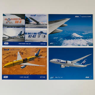 エーエヌエー(ゼンニッポンクウユ)(ANA(全日本空輸))のANA ポストカード 4枚セット STAR WARS C-3PO 787 777(使用済み切手/官製はがき)
