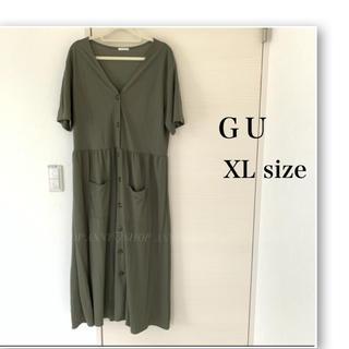 GU - ジーユー♡フロントボタンワンピース♡半袖♡カーキ♡羽織としても♡大きいサイズ