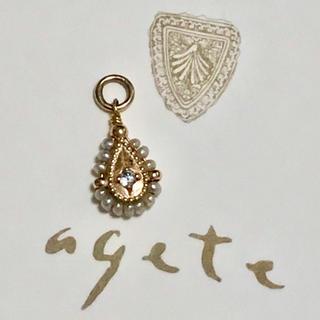 agete - アガット K10 ダイヤ パール ネックレス チャーム agete