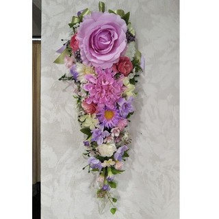 華やかpink purple flower ♥️スワッグ♪壁掛け【ガーランド】(その他)