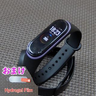 miband4 ,3 替えバンド ブラックパープルライン 保護フィルム付き(腕時計(デジタル))