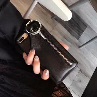 iPhone7/8 ブラックファスナーポケット ケース 小銭入れ フェイクレザー