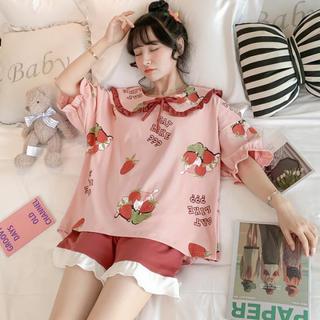 【即日発送】 ルームウェア 上下セット 半袖 ショートパンツ 猫 苺 パジャマ