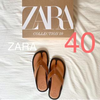 ZARA - ZARA トップステッチ入りフラットサンダル 40 金子麻貴 TODAYFUL