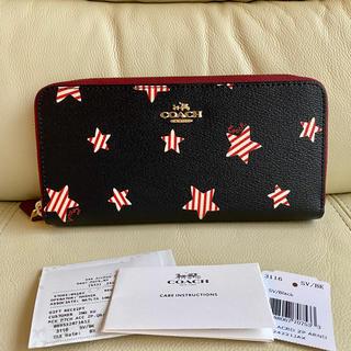 COACH - 感謝セール☆COACH コーチ 新品 最新作 ブラック レッド星☆ 長財布