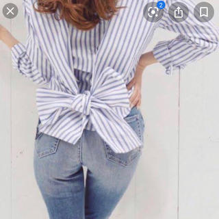 rienda - ストライプバックリボンシャツ♡