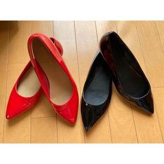 ユニクロ(UNIQLO)の((お得))黒と赤の通勤靴セットM(バレエシューズ)