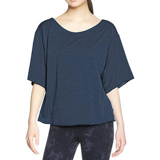 アツギ(Atsugi)の新品 アツギ クリアビューティアクティブ 5分袖 スエットTシャツ ネイビー(ヨガ)