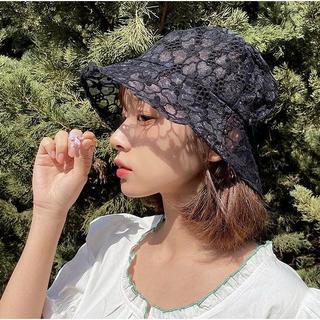 セール★レースバケットハット シースルー帽子★韓国ファッションブラック