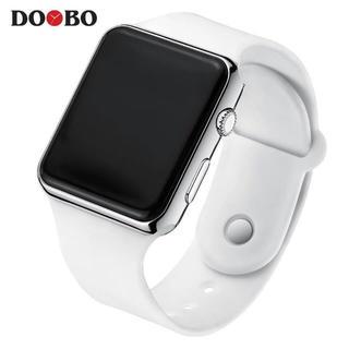 DOOBO LEDディスプレイ デジタル 腕時計 ホワイト/シルバー 新品(腕時計(デジタル))