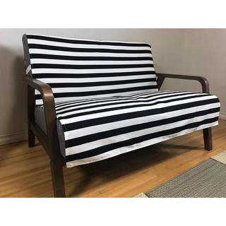 中掛けソファカバー 横幅150×長さ150cm カフェスタイル:ブラック(ソファカバー)