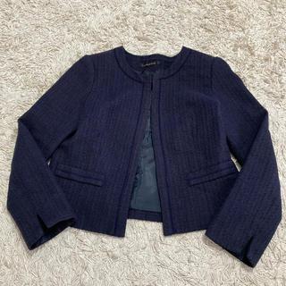 PLST - ノーカラージャケット ツイードジャケット 紺色 ネイビー M 9号