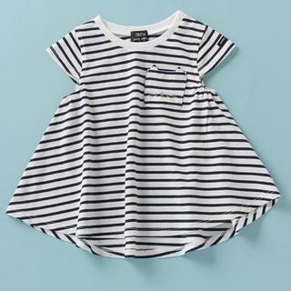 petit main - プティマイン 120 オーガニックコットン 胸ポケットAラインTシャツ