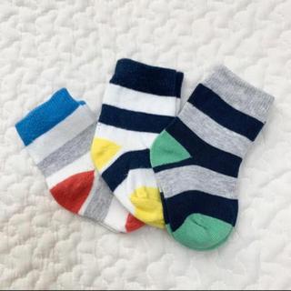 エイチアンドエム(H&M)のH&M ボーダーソックス ベビー 靴下 3つセット(靴下/タイツ)