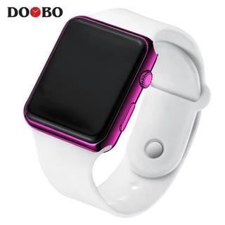 DOOBO LEDディスプレイ デジタル 腕時計 ホワイト/パープル 新品(腕時計(デジタル))