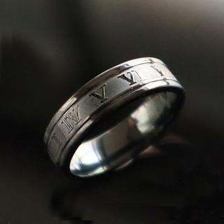 指輪 メンズ リング ローマ数字 ブラック 黒 ステンレス マット感 かっこいい