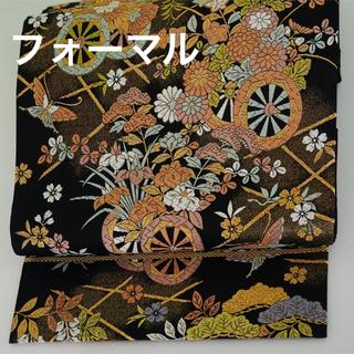 フォーマルを華やかに☆  黒に金糸 花車と蝶の唐織  正絹 六通 袋帯