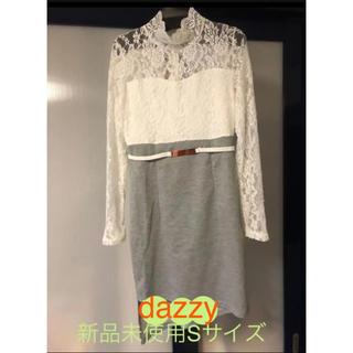 デイジーストア(dazzy store)のdazzy 袖レースタイトミニドレス アシンメトリースカート Sサイズ未使用(ミニドレス)