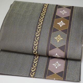 グレー地の袋帯 六通 正絹  控えめな金糸     セミフォーマルまで