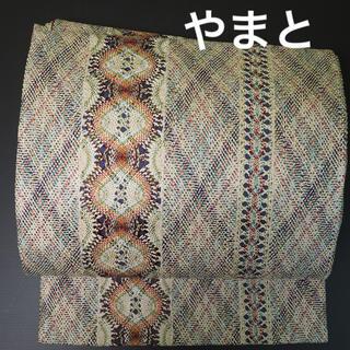 やまと誂製 全通 袋帯 正絹 縞模様     新はじく加工済
