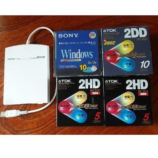 アイオーデータ(IODATA)のフロッピーディスクドライブとディスクいろいろ30枚(PC周辺機器)
