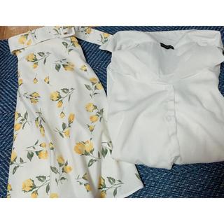アラマンダ(allamanda)のallamandaベルト付きスカートSummer 新品(ひざ丈スカート)