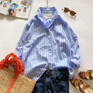 ドロシーズ(DRWCYS)の美品*ドロシーズ ゆったり抜き襟 ストライプシャツ ブルー コットン100%(シャツ/ブラウス(長袖/七分))