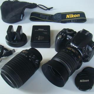 Nikon - ニコンD3100一眼レフデジカメ、広角望遠レンズ2個、バッテリー3個ほかセット