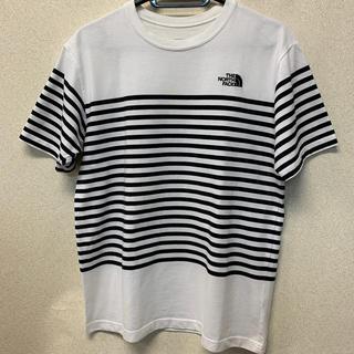 THE NORTH FACE - ノースフェイス ボーダー 半袖Tシャツ 黒/白 M メンズ USED